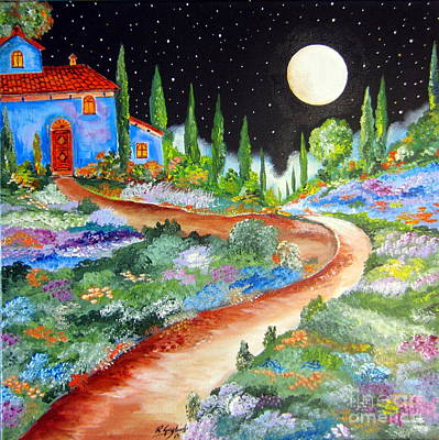 Roberto Painting - Starry Night In Tuscany And A Full Moon by Roberto Gagliardi