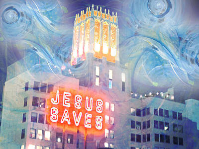 Art Print featuring the painting Starry Night Indowntown La by John Fish