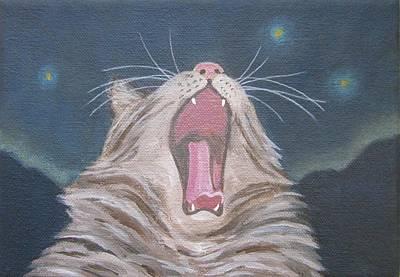 Painting - Starry Night Kitty Yawn Bright by Kazumi Whitemoon