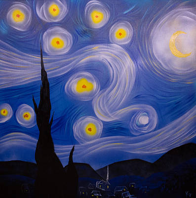 Stary Sky Painting - Starry Night by Kyle Geseking