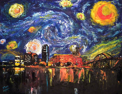 Painting - Starry Night - Little Rock by David McGhee