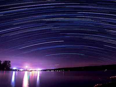 Starry Night On Cayuga Lake Print by Paul Ge