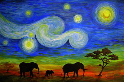 Painting - Starry Night Over Africa by Catherine Howley
