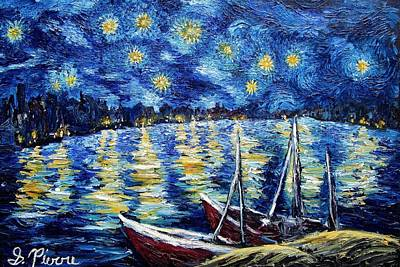 Painting - Starry Night Over Rhone by Sebastian Pierre