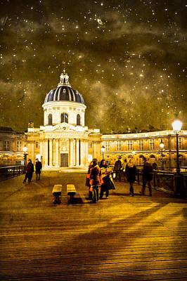 Starry Night Over The Institut De France Art Print by Mark Tisdale