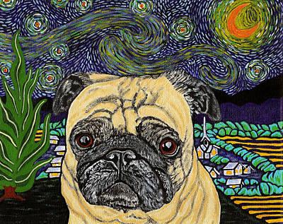 Starry Night Pug Art Print