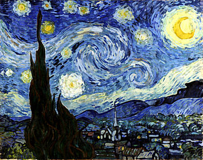 Mixed Media - Starry Night Reproduction Art Work by Vincent van Gogh