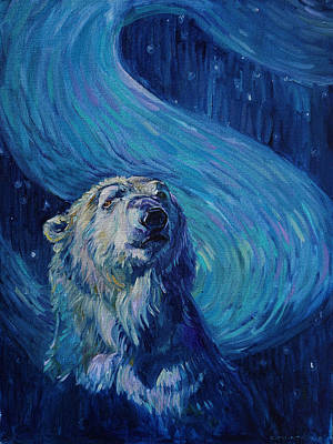 Painting - Starry Night Van Gogh Bear by Christine Montague