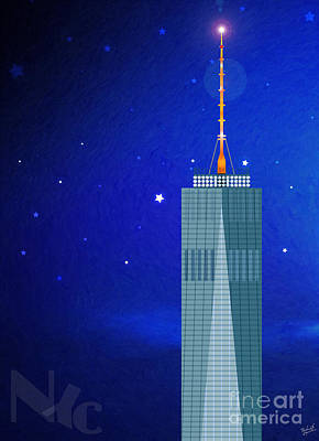 Nyc Digital Art - Starry Nights - Wtc One by Nishanth Gopinathan