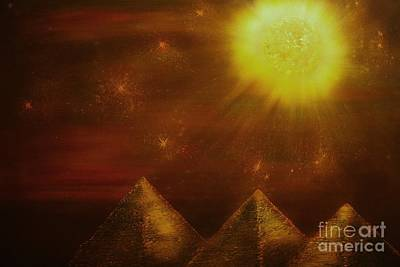 Painting - Starry Pyramid Night-original Sold-buy Giclee Print Nr 34 Of Limited Edition Of 40 Prints  by Eddie Michael Beck