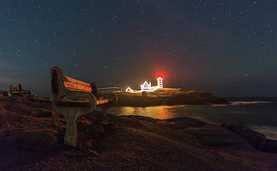 Starry Skies Over Nubble Lighthouse  Art Print