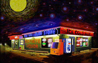 Starry Starry Fly By Nite Drive Thru Liquor Store Art Print by Robert FERD Frank