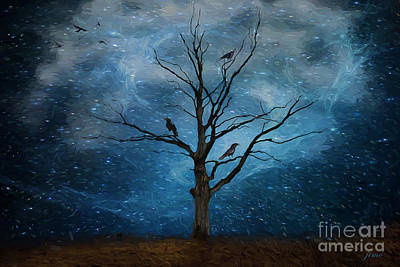 Crow Mixed Media - Starry Starry Night by Jim Hatch