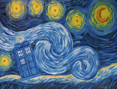 Tardis Painting - Starry Tardis Night by Deirdre DeLay