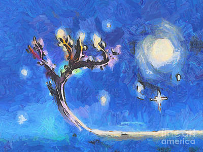 Warm Colors Painting - Starry Tree by Pixel  Chimp