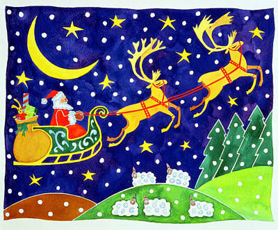 Reindeer Painting - Stars And Snowfall by Cathy Baxter