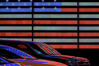 Car Abstract Wall Art - Photograph - Stars And Stripes Reflected by Linda Wride