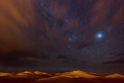 Morocco Photograph - Stars, Dunes And Clouds In Marzuga Desert by Tristan Shu