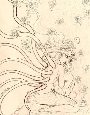 Stars Entwined In Her Hair Art Print by Coriander  Shea
