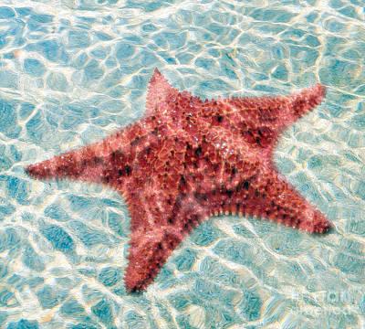 Naples Beach Wall Art - Mixed Media - Stars In The Water by Jon Neidert