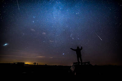 Stars  Meteors And Standing On Cars Art Print
