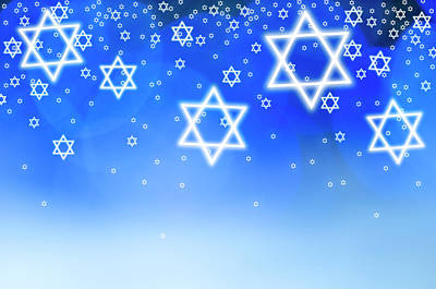 Blue Background Photograph - Stars Of David Against Blue Background by Tetra Images