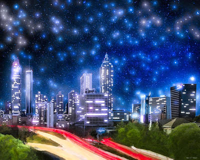 Photograph - Stars Over Atlanta - Skyline by Mark E Tisdale