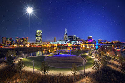 Nashville Skyline Photograph - Stars Over Nashville by Malcolm MacGregor