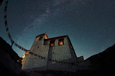 Bhutan Photograph - Stars Over The Monastery by Aaron Bedell
