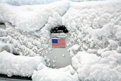 Digital Art - Stars Stripes And Snow by Carrie OBrien Sibley