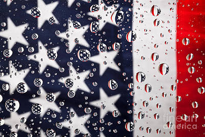 Photograph - Stars Stripes And Water Drops by Sharon Dominick