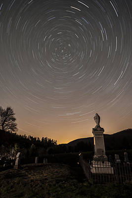 Stars Trails Over Cemetery Art Print by Susan Candelario