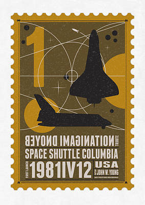 Wall Art - Digital Art - Starschips 01-poststamp - Spaceshuttle by Chungkong Art