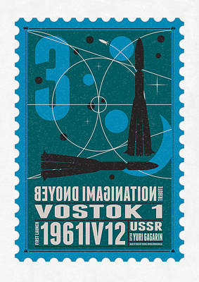 Science Fiction Digital Art - Starschips 03-poststamp - Vostok by Chungkong Art