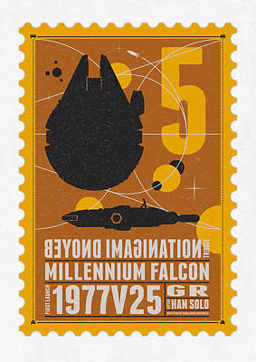Wall Art - Digital Art - Starschips 05-poststamp -star Wars by Chungkong Art