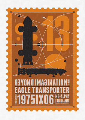 Science Fiction Digital Art - Starschips 13-poststamp - Space 1999 by Chungkong Art