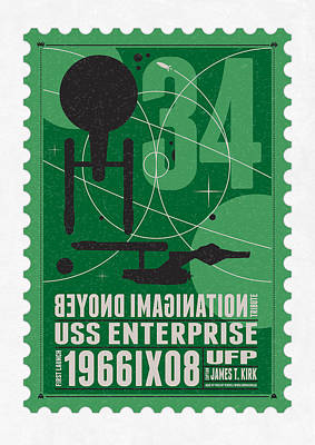 Science Fiction Digital Art - Starschips 34-poststamp - Uss Enterprise by Chungkong Art