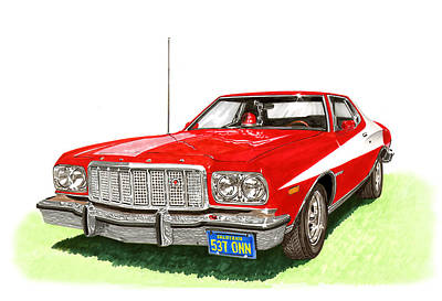 Painting - Starsky Hutch 1974 Ford Gran Torino Sport by Jack Pumphrey