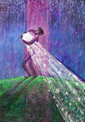 Contemplative Painting - Starstruck by Maria Valladarez