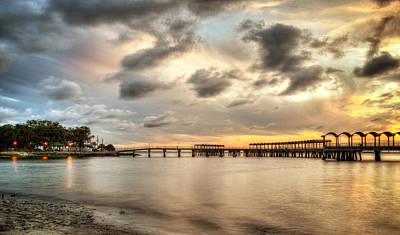 Starting A Night Of Fishing At Crab Creek Pier Art Print by Greg and Chrystal Mimbs