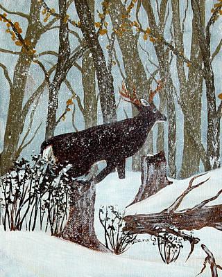 Startled Buck - White Tail Deer Original by Barbara Griffin