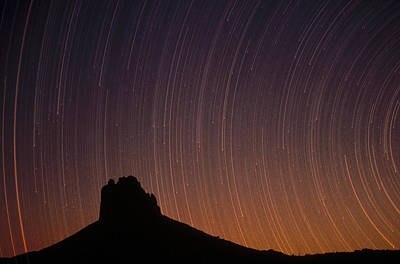 Startrails Over Shiprock In The Four Art Print by Tim Fitzharris