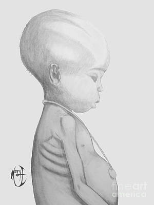 Art Print featuring the drawing Starved African Girl by Justin Moore