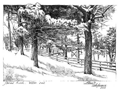 Drawing - Starved Rock Winter 2004. Stippling. by Alena Nikifarava