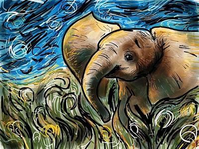 Elephants Digital Art - Starry Elephant by Devin Hermanson