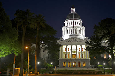 Photograph - State Capitol At Night Sacramento by SC Heffner