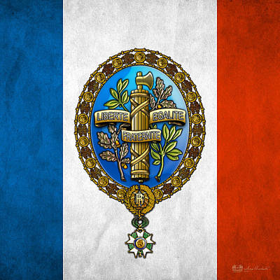 Digital Art - State Emblem And Flag Of France by Serge Averbukh