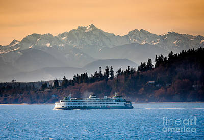 Puget Sound Photograph - State Ferry And The Olympics by Inge Johnsson