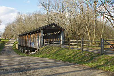 State Line Or Bebb Park Covered Bridge Art Print by Jack R Perry