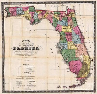 Painting - State Of Florida - 1870 by Pg Reproductions